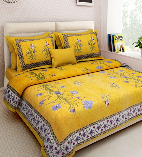 Floral Pattern 160TC Cotton King Size Bed Sheet With 2 Pillow Covers By  Rajasthan Decor