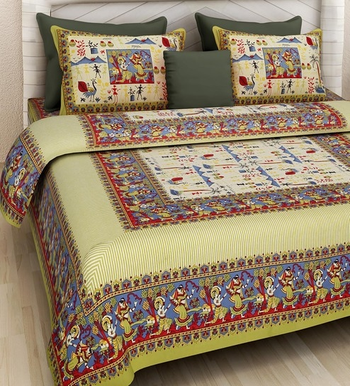 Buy Ethnic Motif 160tc Cotton King Size Bed Sheet With 2 Pillow