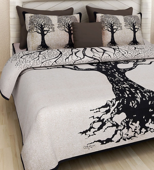 Buy Floral Pattern 160tc Cotton King Size Bed Sheet With 2 Pillow