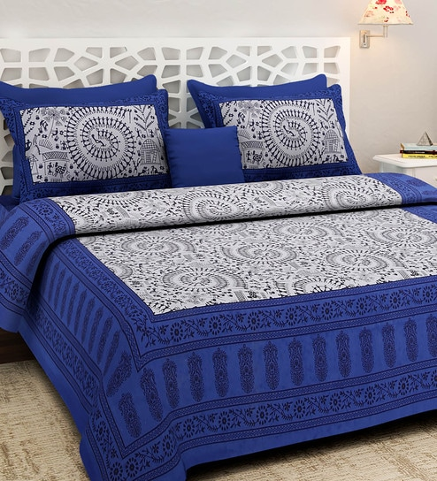 Great Ethnic Motif 160TC Cotton King Size Bed Sheet With 2 Pillow Covers By  Rajasthan Decor