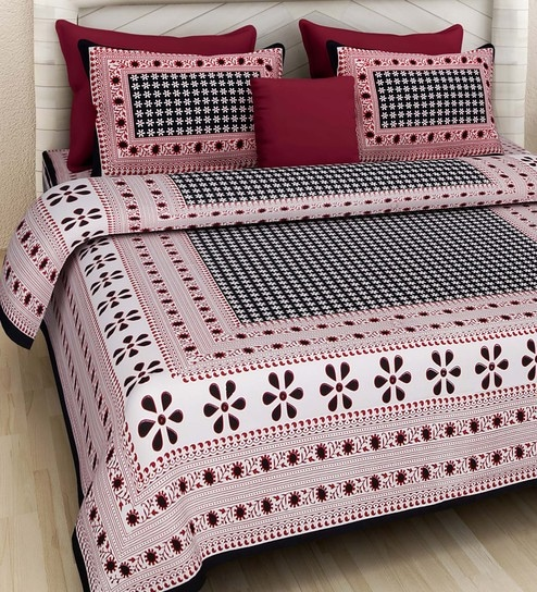 d7ef0af3709 Buy Ethnic Motif 160TC Cotton King Size Bed Sheet with 2 Pillow covers By Rajasthan  Decor Online - Ethnic Motifs King Size Bed Sheets - King Size Bed Sheets ...