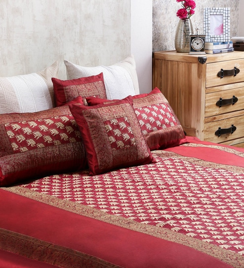 Ramabhakta Reds Indian Ethnic Silk Single Size Bed Sheets   Set Of 5