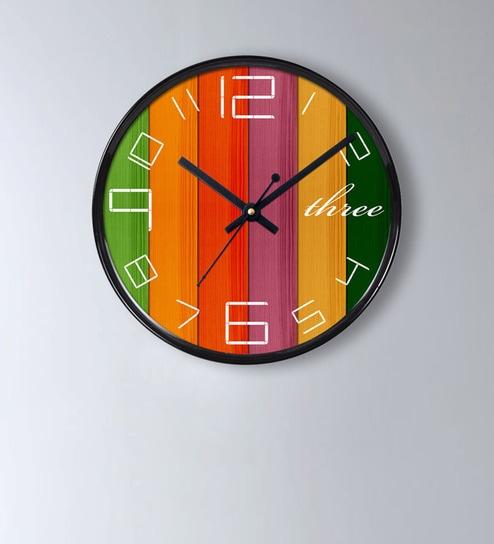 Multicolour Plastic Wall Clock By Random