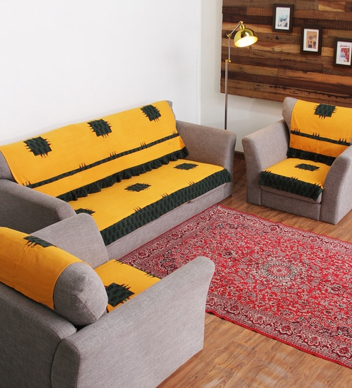 Rangdesi Designer Yellow Cotton Handcrafted Bagh Patch 6 Piece Sofa Cover Set