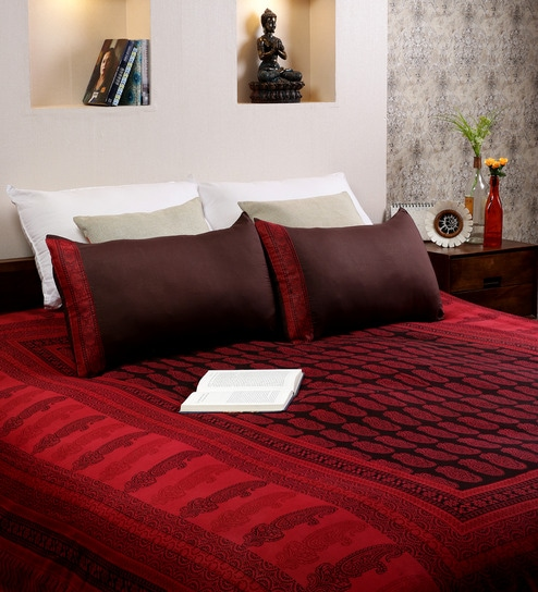 RangDesi Multicolor Cotton Handblock Bagh 120 X 90 Inch Bed Sheet (with  Pillow Covers)