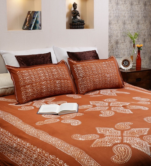 RangDesi Brown Cotton Handcrafted Batik 102 X 94 Inch Double Bed Sheet  (with Pillow Covers