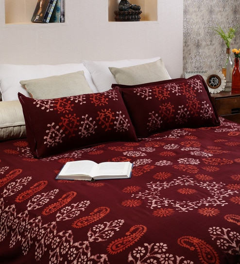 Delightful RangDesi Brown Cotton Batik 102 X 94 Inch Double Bed Sheet (with Pillow  Covers)
