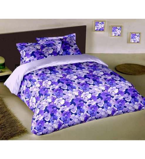 Raymond Home 100% Cotton Pretty Floral Blue Single Bed Sheet Set