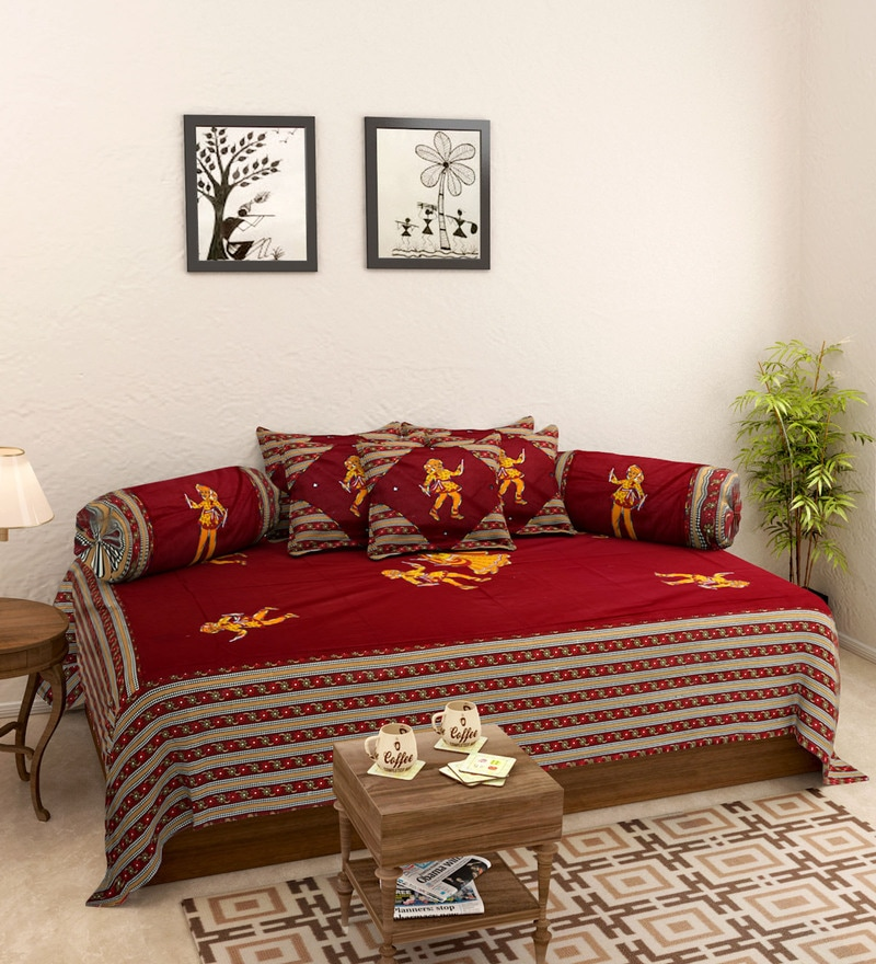 Buy maroon cotton screen print diwan set set of 8 by for Diwan bed set