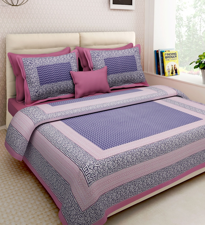 Buy Cotton 160TC Double Bedsheet With 2 Pillow Covers By