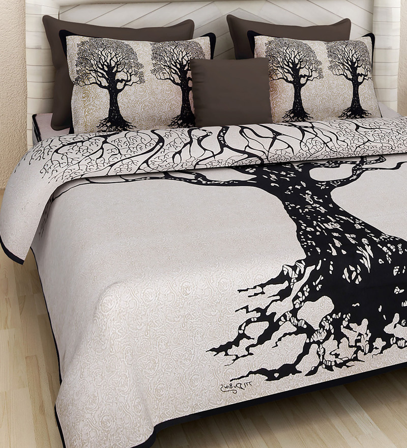 Buy Floral Pattern 160tc Cotton King Size Bed Sheet With 2