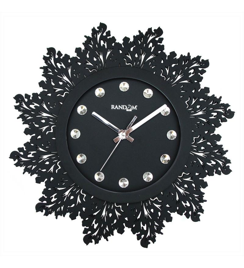 440a3bb5a1 Buy Black Wooden 15 x 2 x 15 Inch Jewel Artistic Wall Clock by ...