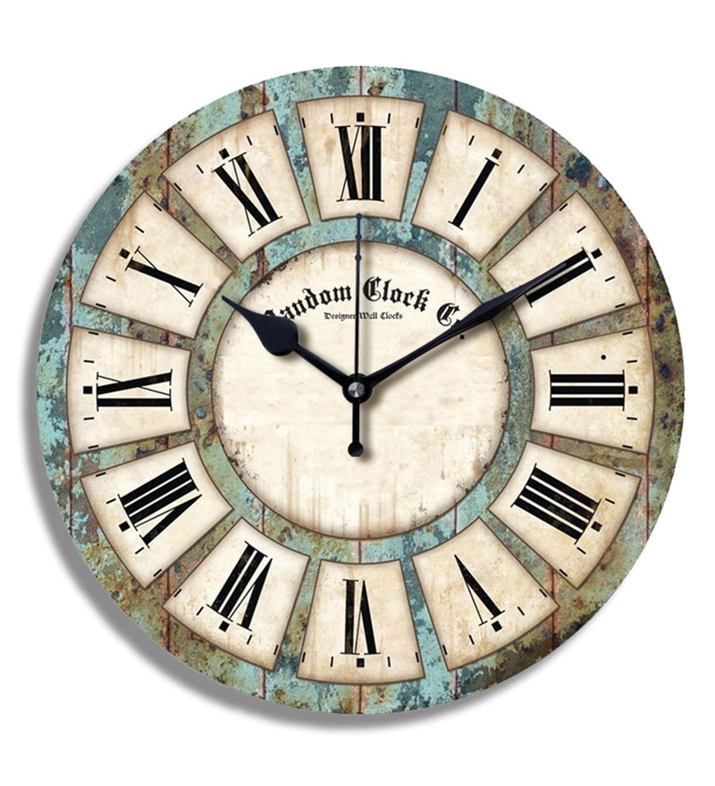 Multicolour MDF Wood 11.5 x 1.5 x 11.5 Inch Rough & Tough Wall Clock by Random