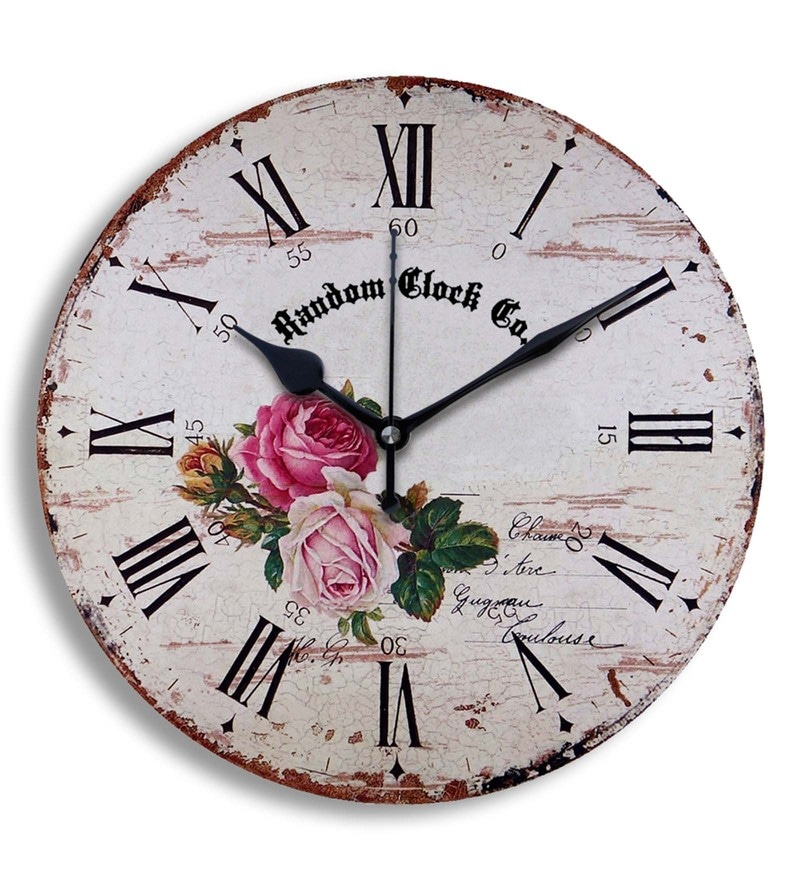 Multicolour MDF Wood 11.5 x 1.5 x 11.5 Inch Wall Clock by Random
