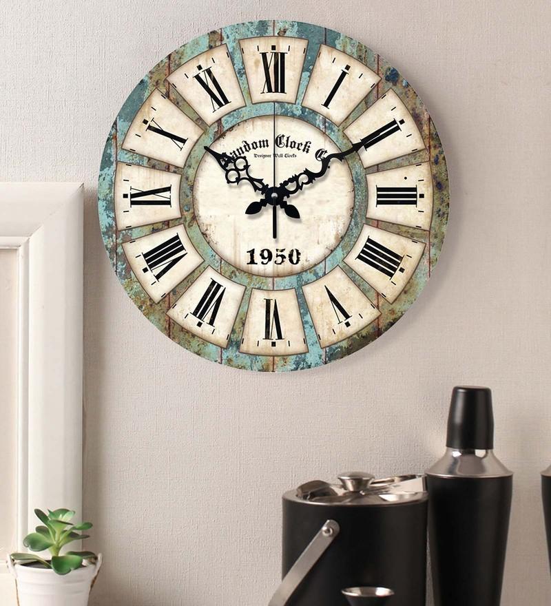 Buy Multicolour Mdf Wood 15 X 2 X 15 Inch Wall Clock By