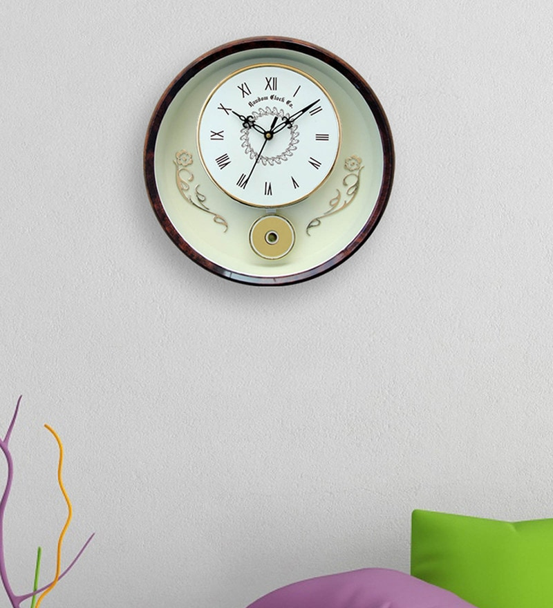 Random Reddish Brown Plastic 12 x 2 x 12 Inch Wall Clock
