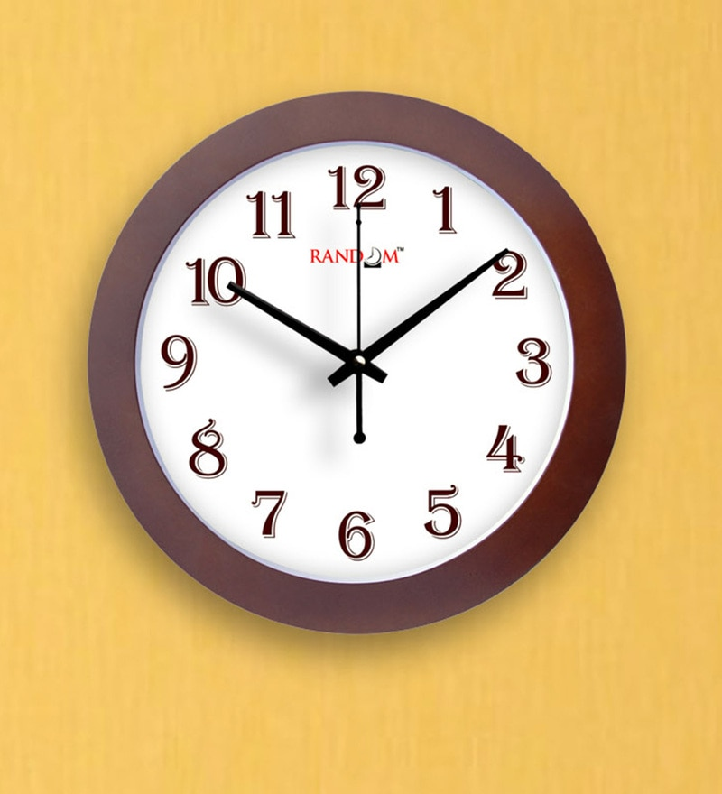 Wooden Brown Wooden 9 x 2 x 9 Inch Trendy Sober Wall Clock by Random
