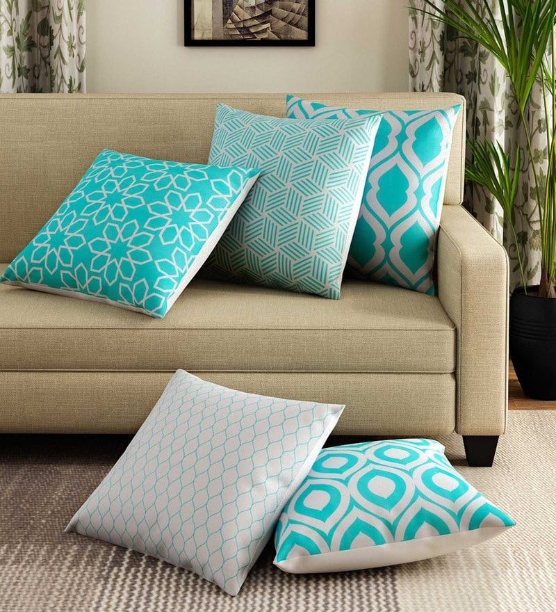 Blue Cotton 16 x 16 Inch Handcrafted Splash Cushion Cover - Set of 5 by Rang Rage