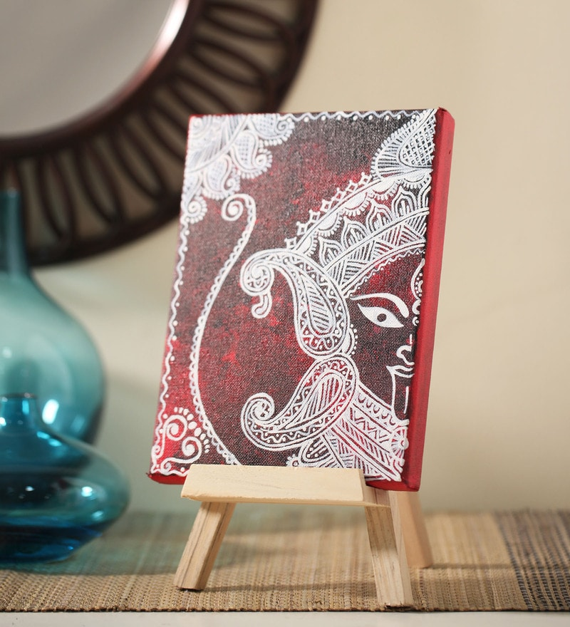 Canvas 8 x 1 x 6 Inch Classy Divine Maa Stretched Framed Painting with Easel Stand by Rang Rage