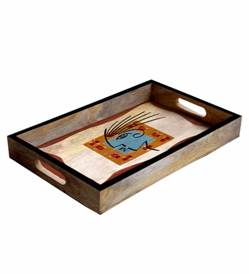 Rang Rage Designer Multicolour Wooden Medium Serving Tray