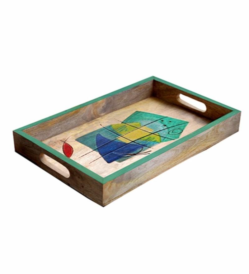Rang Rage Designer Multicolour Wooden Medium Serving Tray