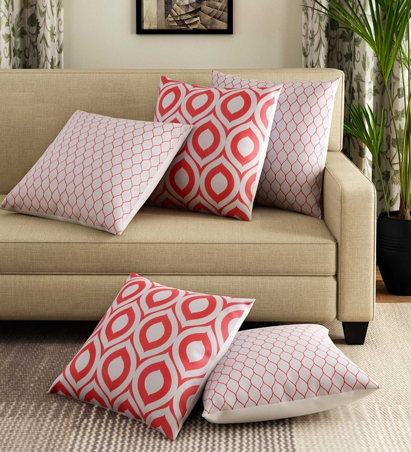 Red Cotton 16 x 16 Inch Handcrafted Gems Cushion Cover - Set of 5 by Rang Rage