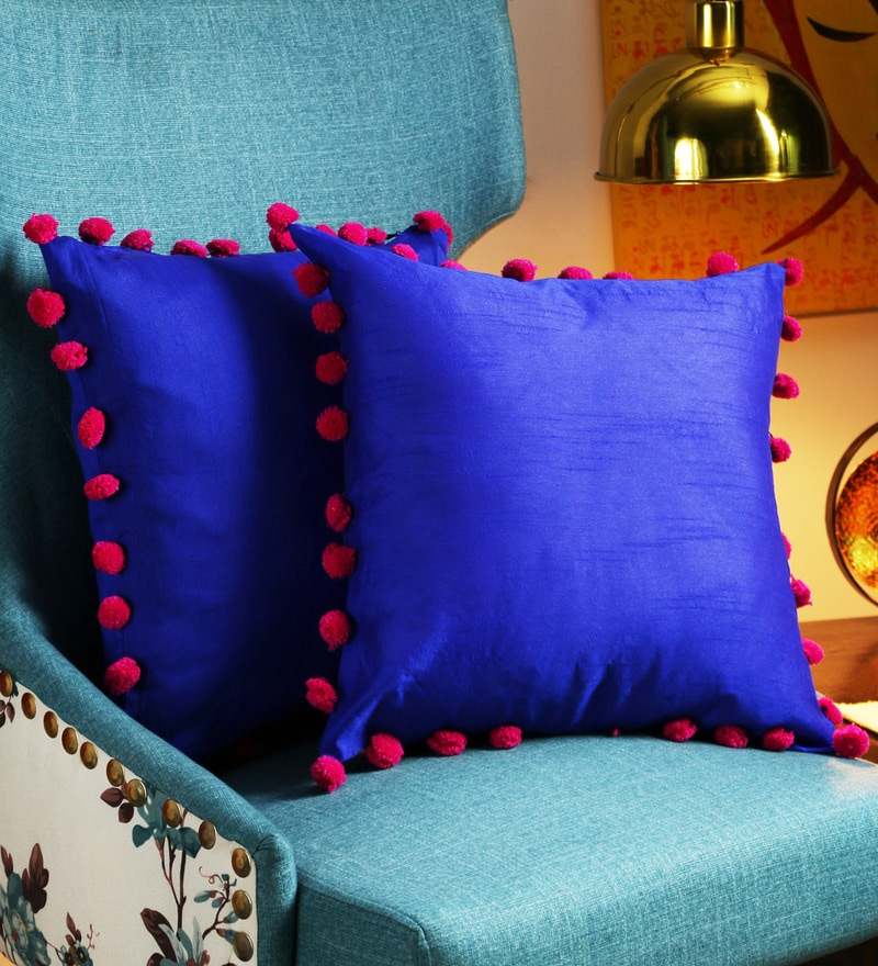 Blue Art Silk 16 x 16 Inch Cushion Cover with Pom Pom Balls - Set of 2 by RangDesi