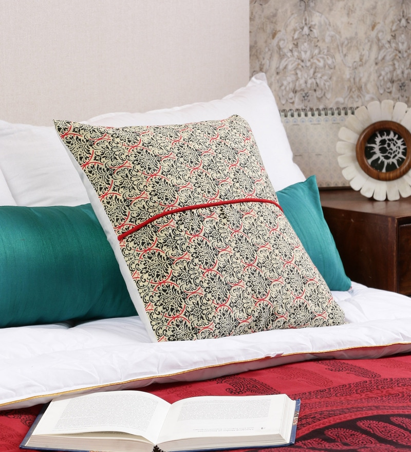 Multicolor Cotton 16 x 16 Inch Floral Cushion Cover by RangDesi