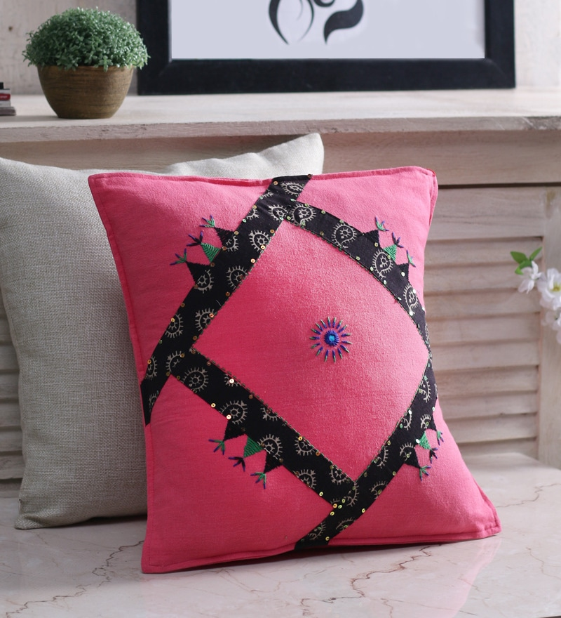 Pink Cotton 16 x 16 Inch Handcrafted Cushion Cover by RangDesi