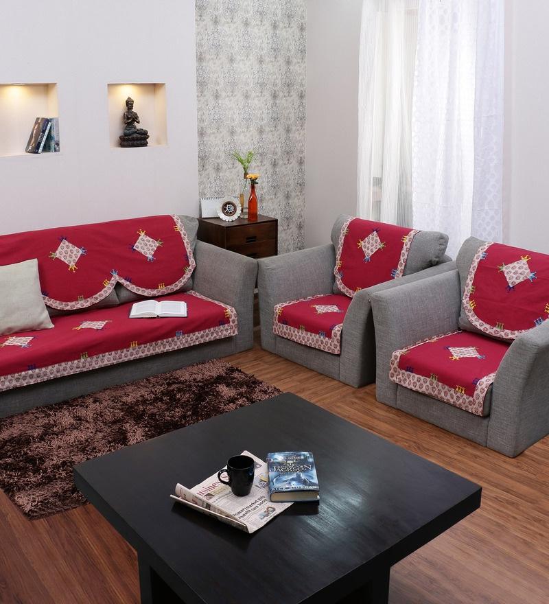 Buy RangDesi Red Cotton Ethnic Sofa Covers Set of 6 line