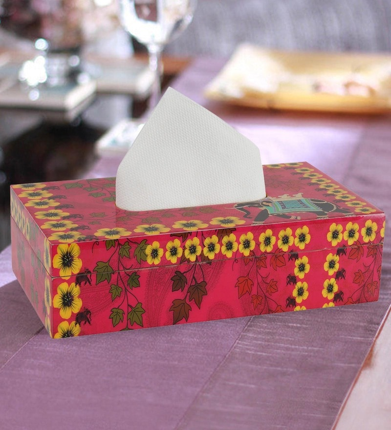 Rangrage Regal Elephant Red Mdf Tissue Holder