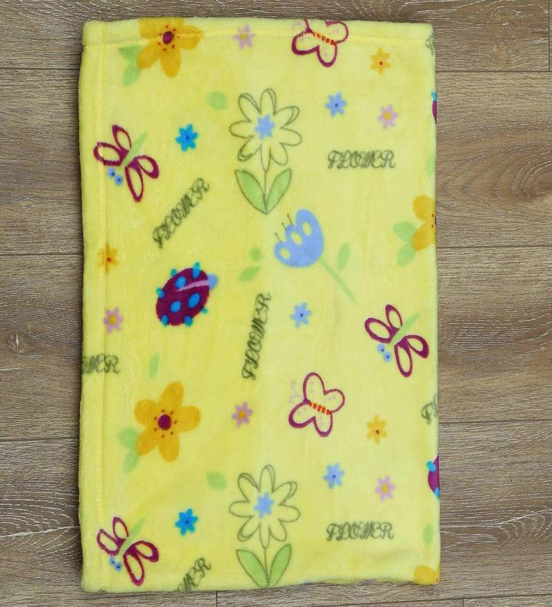 Floral Single Bed Kids Blanket in Yellow Colour by Raymond Home