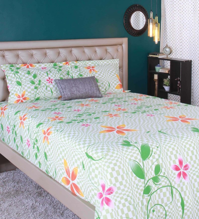 Light Green 100% Cotton King Size Bedsheet - Set of 3 by Raymond Home