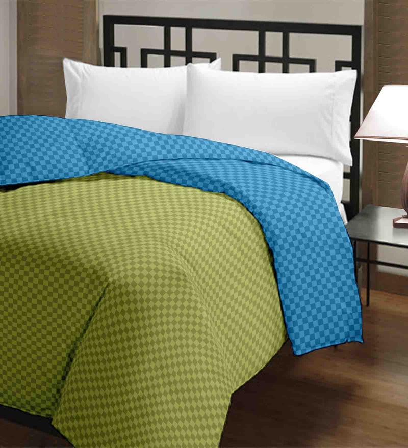 Raymond Home Blue & Green Micro Fiber 100 x 90 Inch Double Quilt