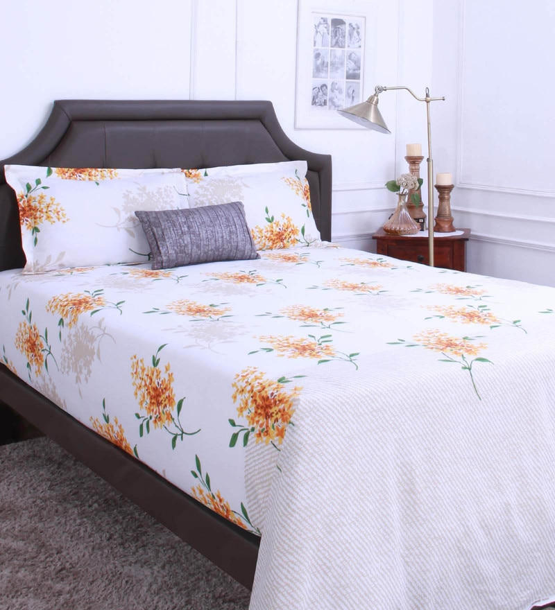 Yellow 100% Cotton King Size Bedsheet - Set of 3 by Raymond Home