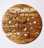 Brown Teak Wood 12 x 0.3 x 12 Inch Wall Clock by Divine Decor
