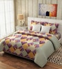 Rago Pop Pink & Orange Cotton Check Bed Sheet (with Pillow Covers)