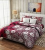 Pop Red & Black Cotton Circles Bed Sheet Set (with Pillows) by Rago
