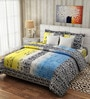Pop Blue & Yellow Cotton Floral Bed Sheet (with Pillow Covers) by Rago