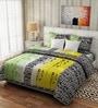 Pop Green & Yellow Cotton Floral Bedsheet & Pillow - Set of 3 by Rago