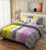 Rago Pop Pink & Yellow Cotton Floral Bed Sheet (with Pillow Covers)