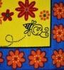 Raj Overseas Blue Nylon 75 x 22 Inch Printed Floral Bedside Runner