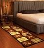 Raj Overseas Brown Nylon 75 x 22 Inch Printed Floral Blocks Bedside Runner