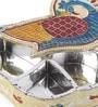 Multicolour Metal Rajasthani Meera Work Drop Shape Kum Kum Box by Gupta Glass Gallery