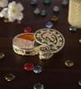 Multicolour Metal Rajasthani Meera Work Peacock Design Kum Kum Box by Gupta Glass Gallery