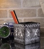Rajrang Black & White Wood & MDF Tribal Designed Hand Painted Pen Holder