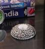 Rajrang Brown Wood & Metal Floral Metal Work Candle Holder