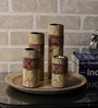 Rajrang Cream & Red Wood & Metal Paisley Hand Painted Candle Holder - Set of 5