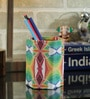 Rajrang Green & Maroon Cardboard & Handmade Paper Abstract Printed Pen Holder
