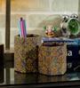 Rajrang Green & Purple Cardboard & Handmade Paper Floral Printed Pen Holder
